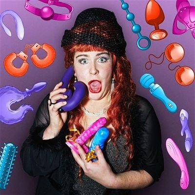 Colourful red haired woman holds dildos and is surrounded by illustrations of sex toys