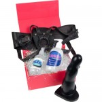 Big Strap On Dildo Kit £144 - Large 7.5 inch Dildo, Leather Harness, Lube & Cleaner SAVE £7