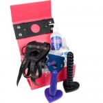 Double Strap On Dildo Kit £146 - Double Pleasure Set for Lesbian Couples: 2 Dildos, Harness, Adaptors, Lube & Cleaner SAVE £7