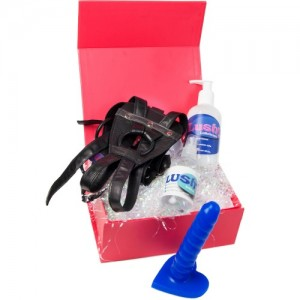Pegging Strap On Kit (£89): 5.25 inch Dildo, Leather Harness, Lube & Cleaner SAVE £5