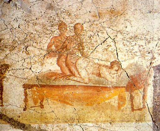 Fresco from the Pompei Suburban baths of a 2 male and 1 female threesome.